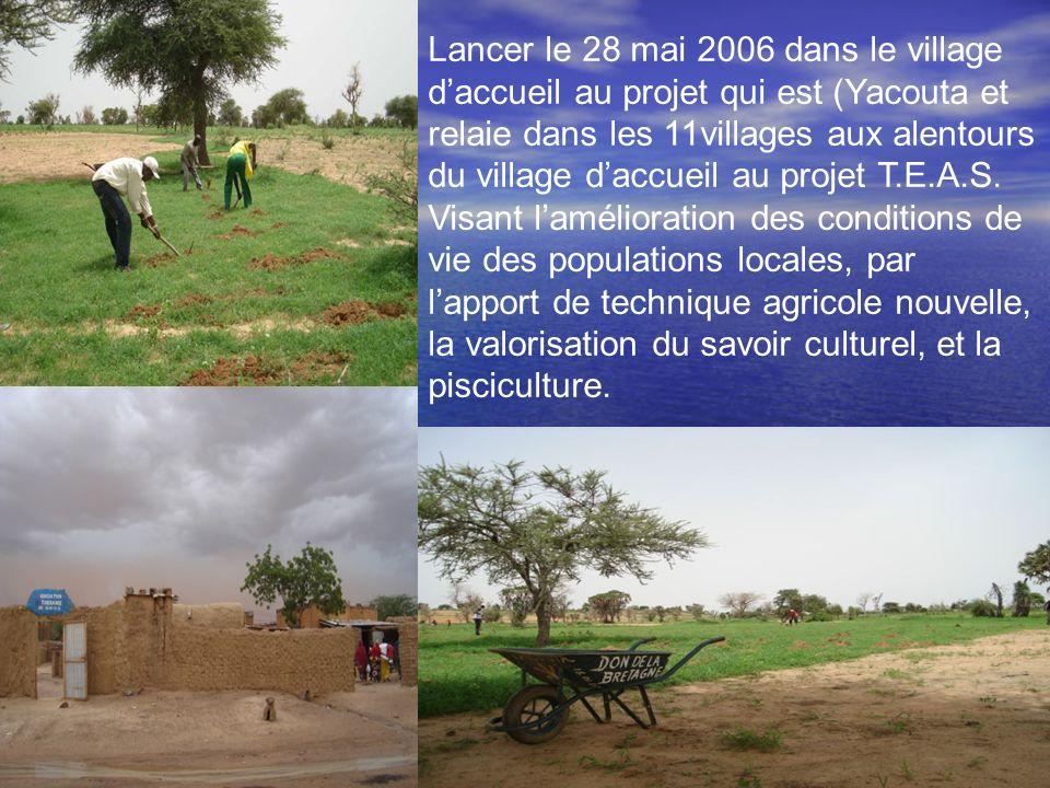 Lancer le 28 mai 2006 dans le village d'accueil au projet qui est (Yacouta et relaie dans les 11villages aux alentours du village d'accueil au projet T.E.A.S.