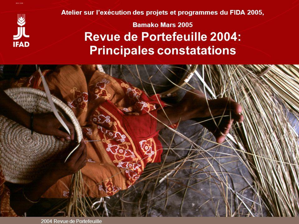 Atelier sur l'exécution des projets et programmes du FIDA 2005, Bamako Mars 2005 Revue de Portefeuille 2004: Principales constatations