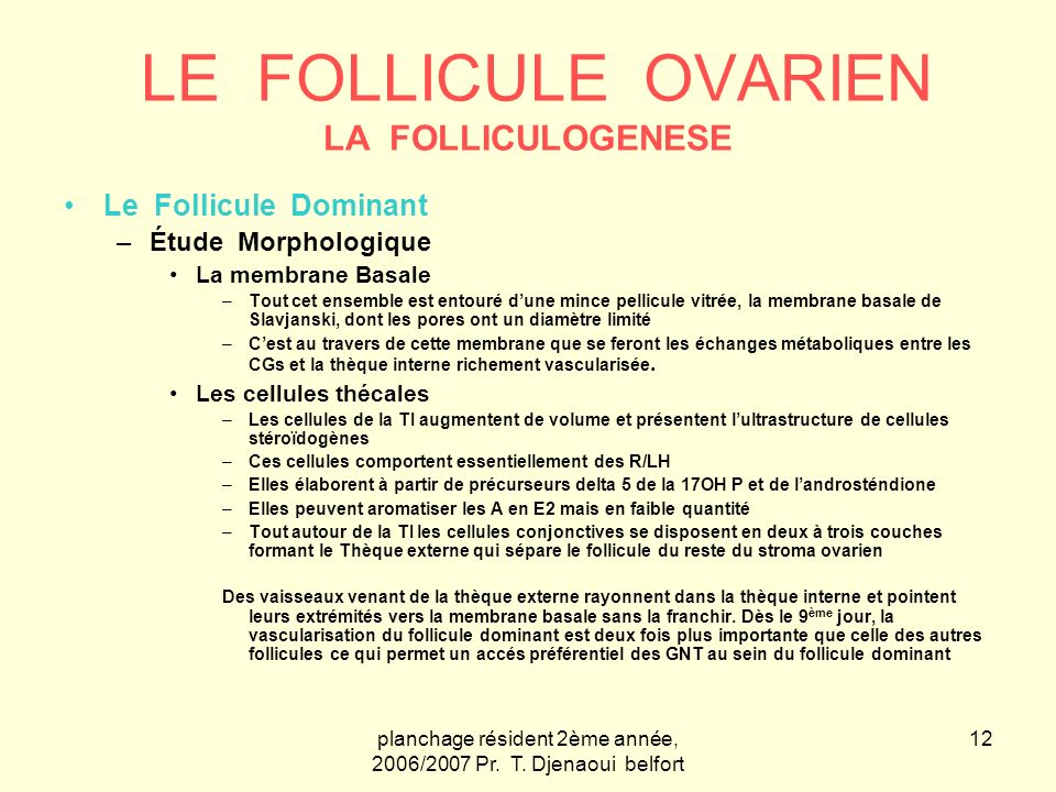 LE FOLLICULE OVARIEN LA FOLLICULOGENESE