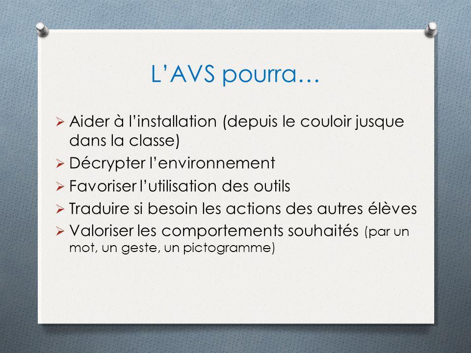 L'AVS pourra… Aider à l'installation (depuis le couloir jusque dans la classe) Décrypter l'environnement.