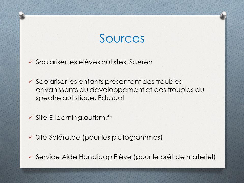 Sources Scolariser les élèves autistes, Scéren