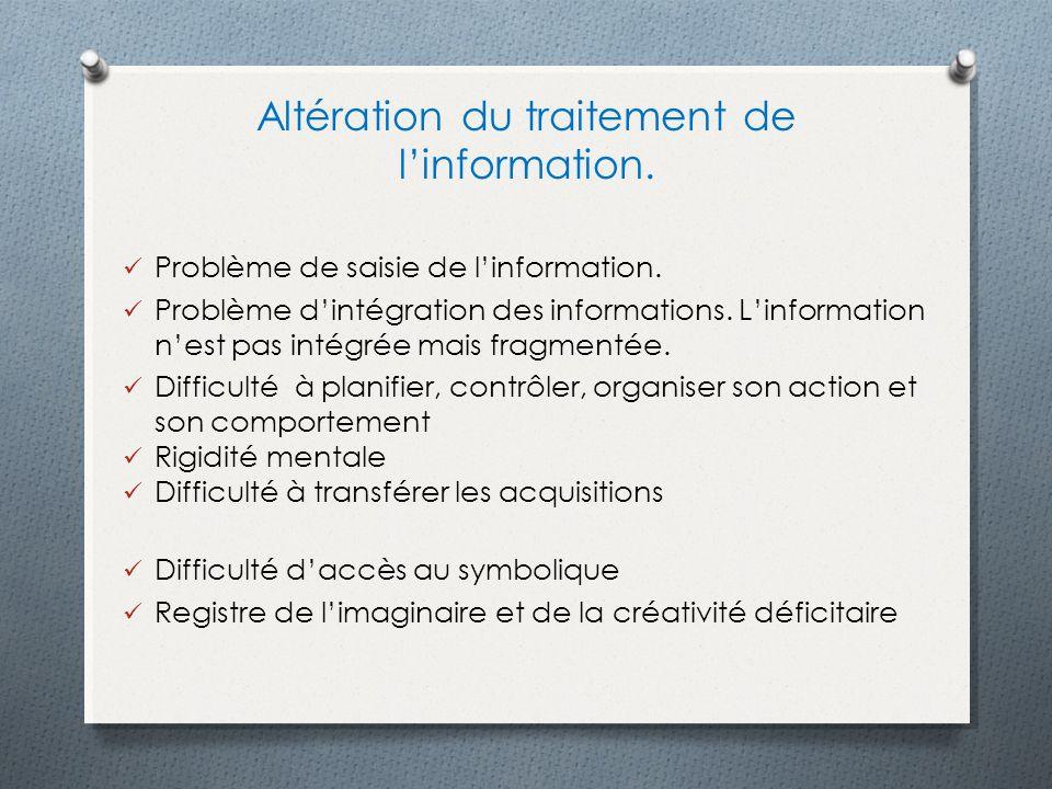 Altération du traitement de l'information.