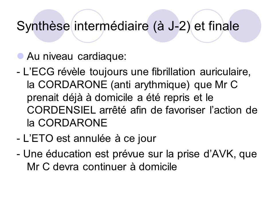 Synthèse intermédiaire (à J-2) et finale