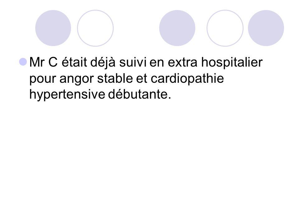Mr C était déjà suivi en extra hospitalier pour angor stable et cardiopathie hypertensive débutante.