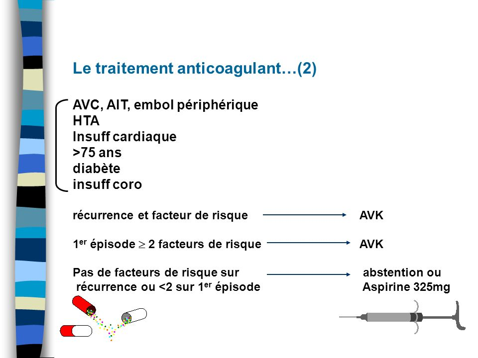 Le traitement anticoagulant…(2)