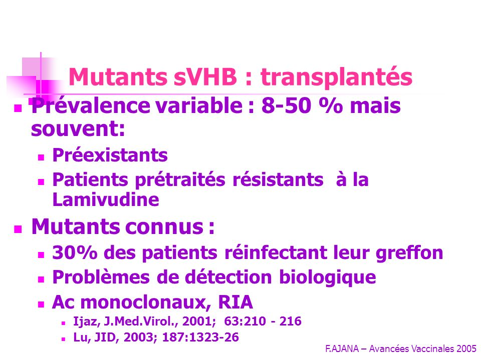 Mutants sVHB : transplantés
