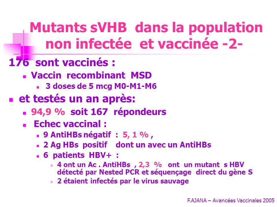 Mutants sVHB dans la population non infectée et vaccinée -2-