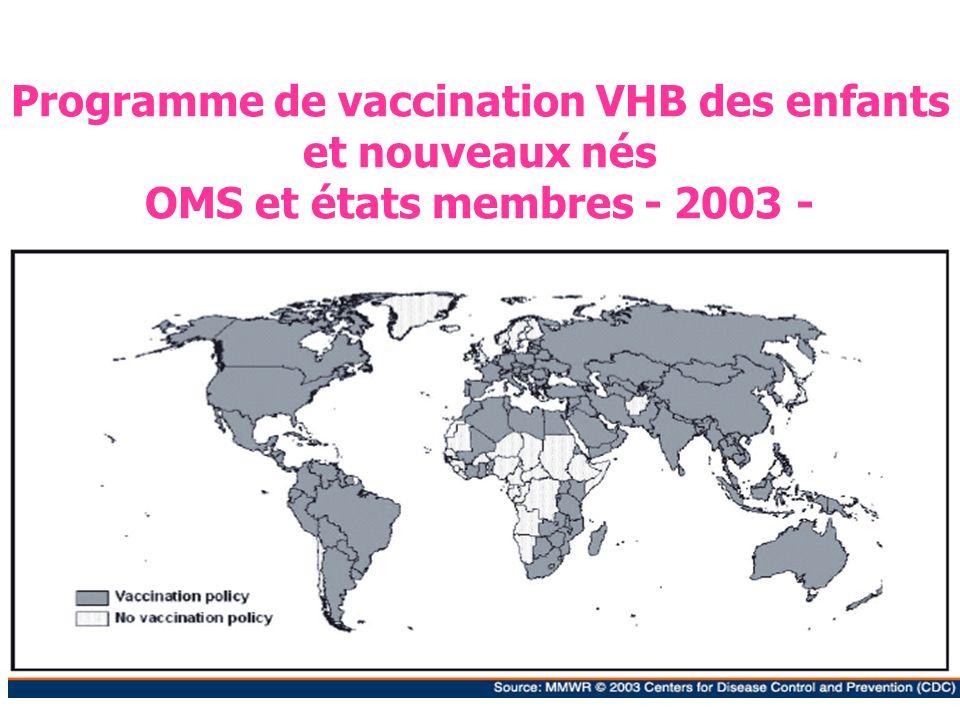Programme de vaccination VHB des enfants et nouveaux nés OMS et états membres - 2003 -