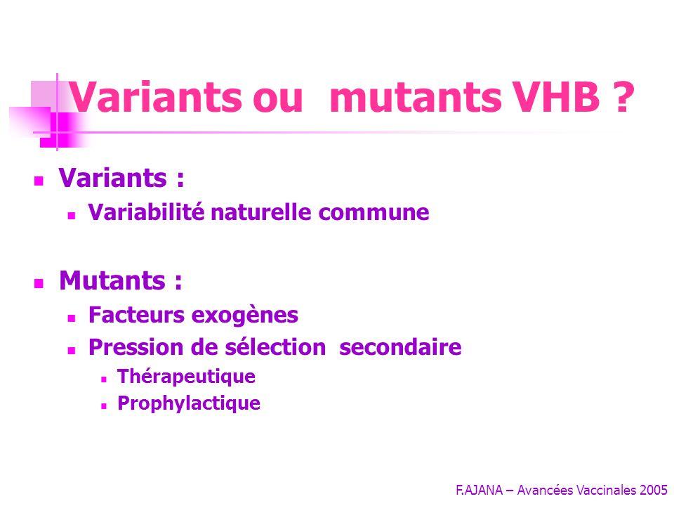 Variants ou mutants VHB