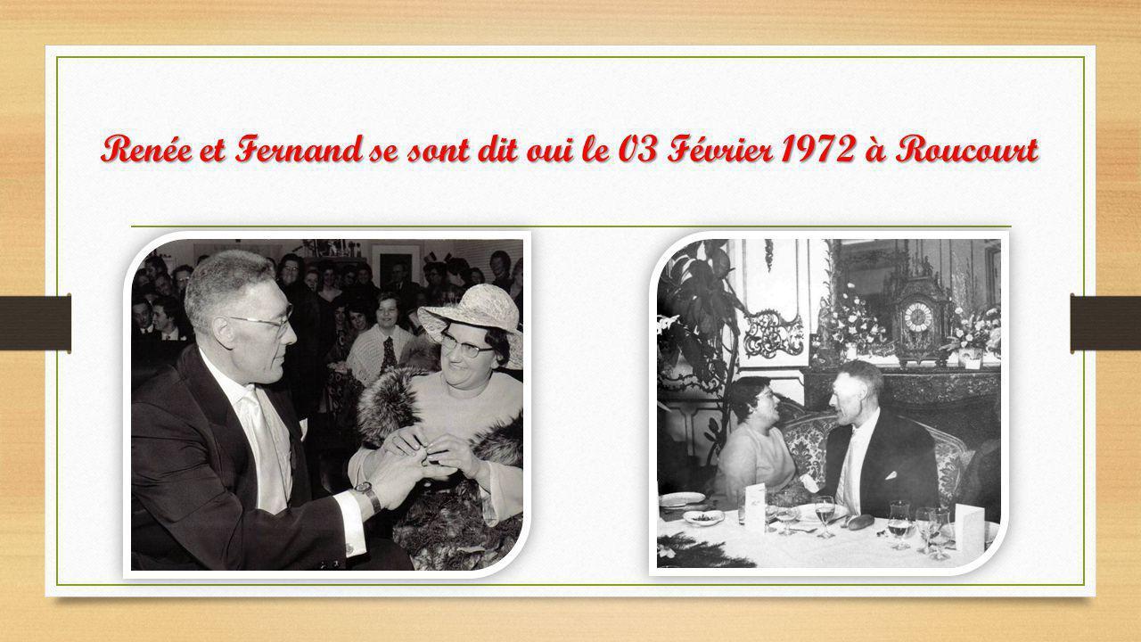 Renée et Fernand se sont dit oui le 03 Février 1972 à Roucourt