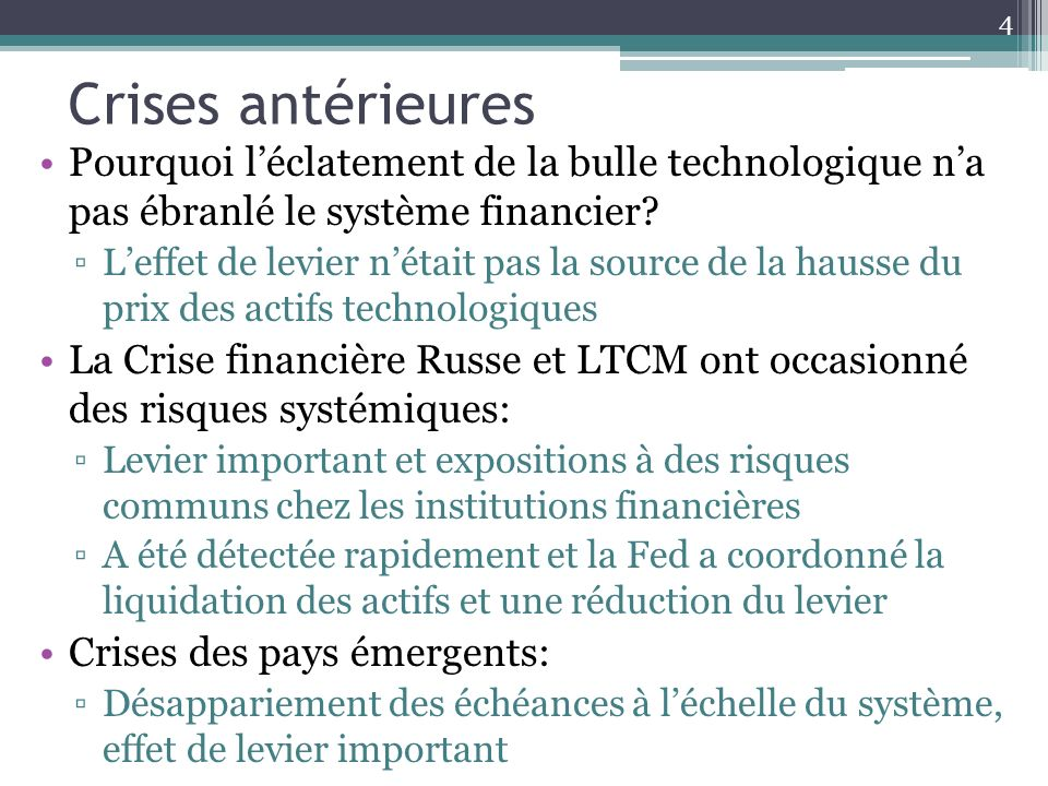 Crises antérieures Pourquoi l'éclatement de la bulle technologique n'a pas ébranlé le système financier