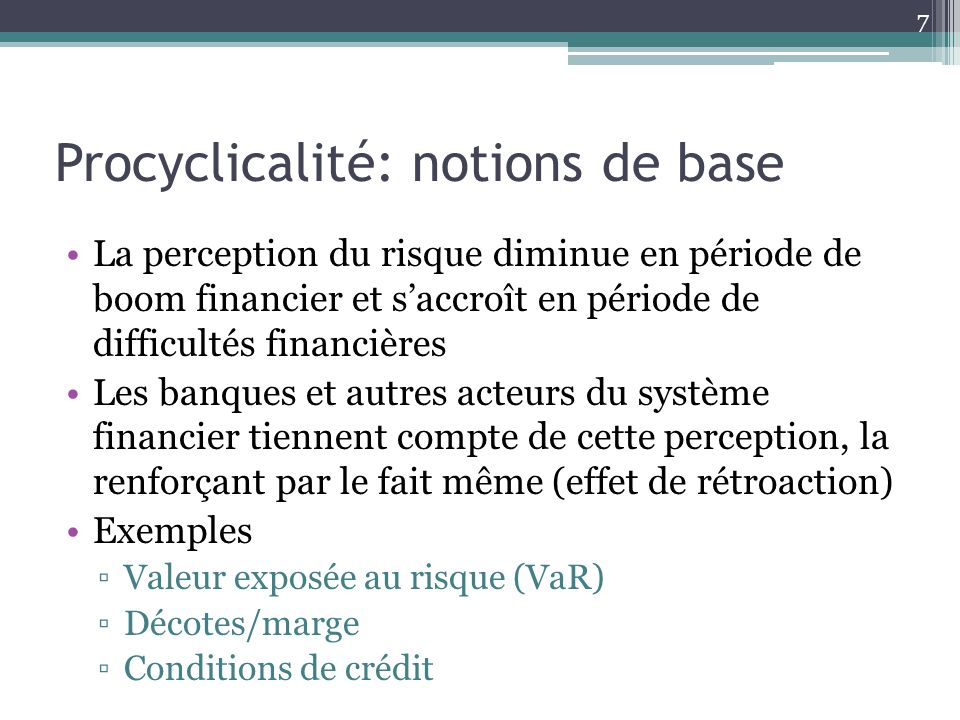 Procyclicalité: notions de base