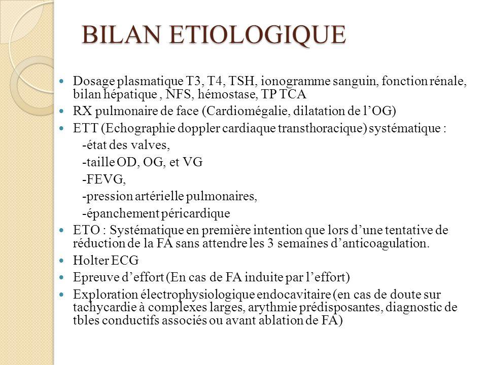 BILAN ETIOLOGIQUE Dosage plasmatique T3, T4, TSH, ionogramme sanguin, fonction rénale, bilan hépatique , NFS, hémostase, TP TCA.