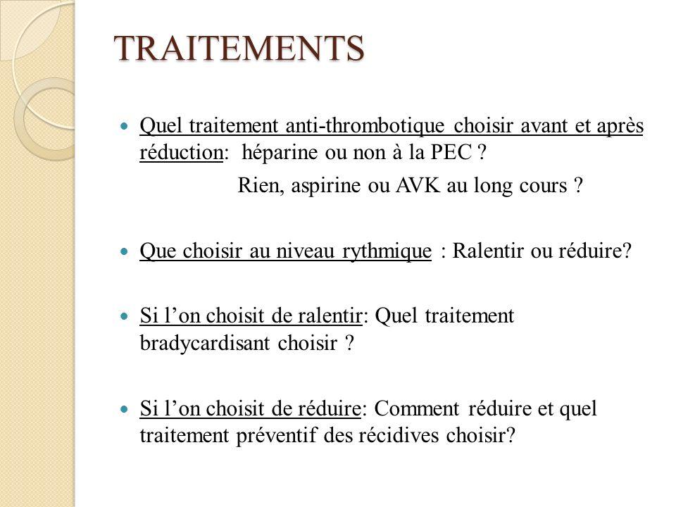 TRAITEMENTS Quel traitement anti-thrombotique choisir avant et après réduction: héparine ou non à la PEC