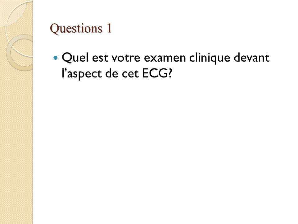 Questions 1 Quel est votre examen clinique devant l'aspect de cet ECG