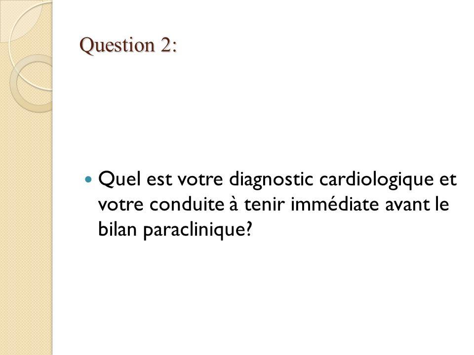 Question 2: Quel est votre diagnostic cardiologique et votre conduite à tenir immédiate avant le bilan paraclinique