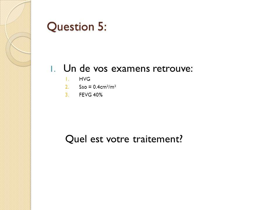 Question 5: Un de vos examens retrouve: Quel est votre traitement HVG