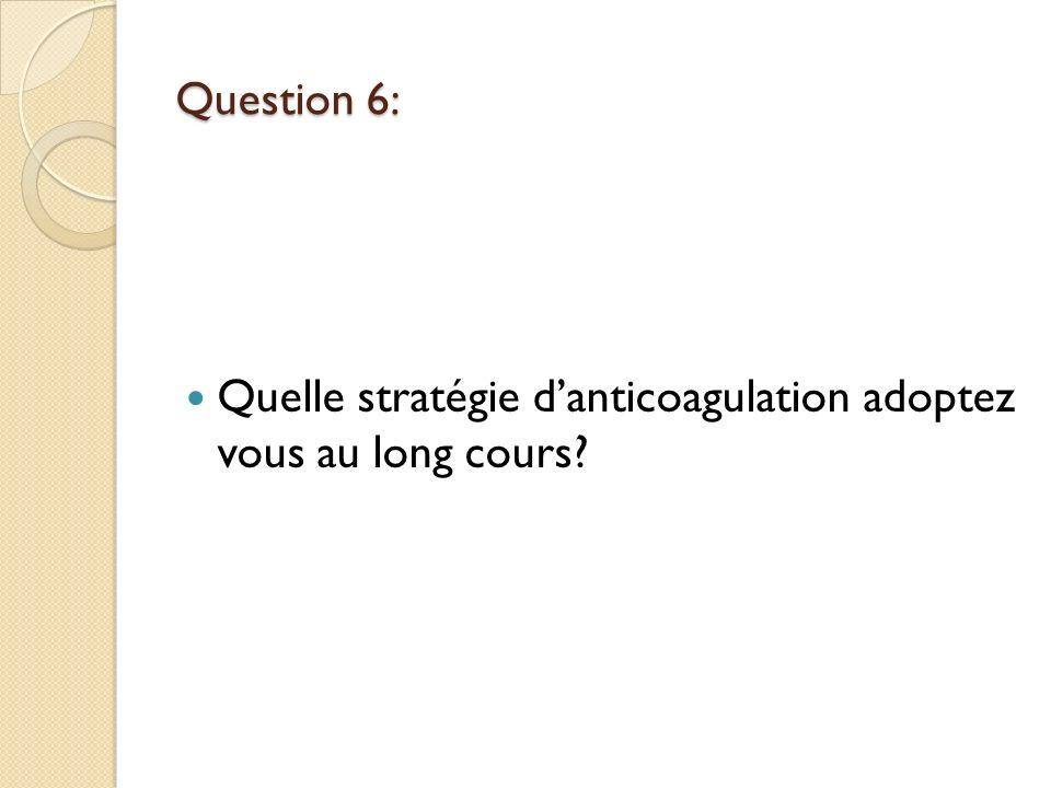 Question 6: Quelle stratégie d'anticoagulation adoptez vous au long cours