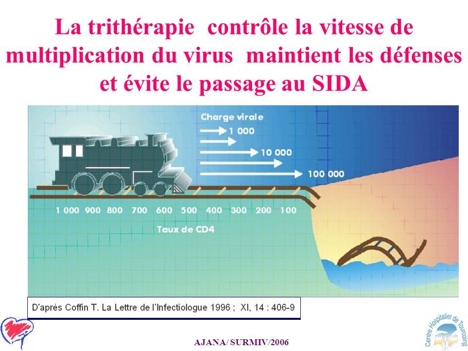 La trithérapie contrôle la vitesse de multiplication du virus maintient les défenses et évite le passage au SIDA