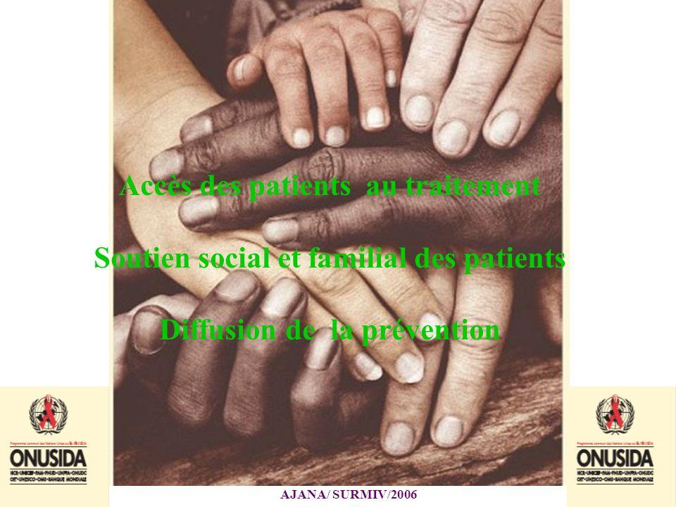 Accès des patients au traitement Soutien social et familial des patients Diffusion de la prévention
