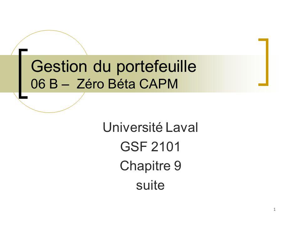 Gestion du portefeuille 06 B – Zéro Béta CAPM