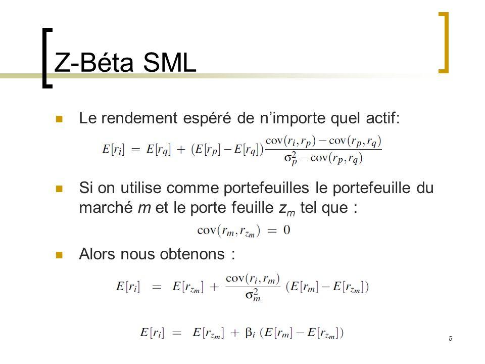 Z-Béta SML Le rendement espéré de n'importe quel actif: