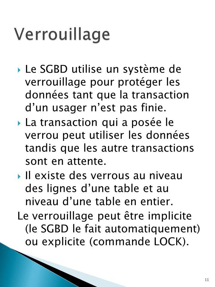 Verrouillage Le SGBD utilise un système de verrouillage pour protéger les données tant que la transaction d'un usager n'est pas finie.
