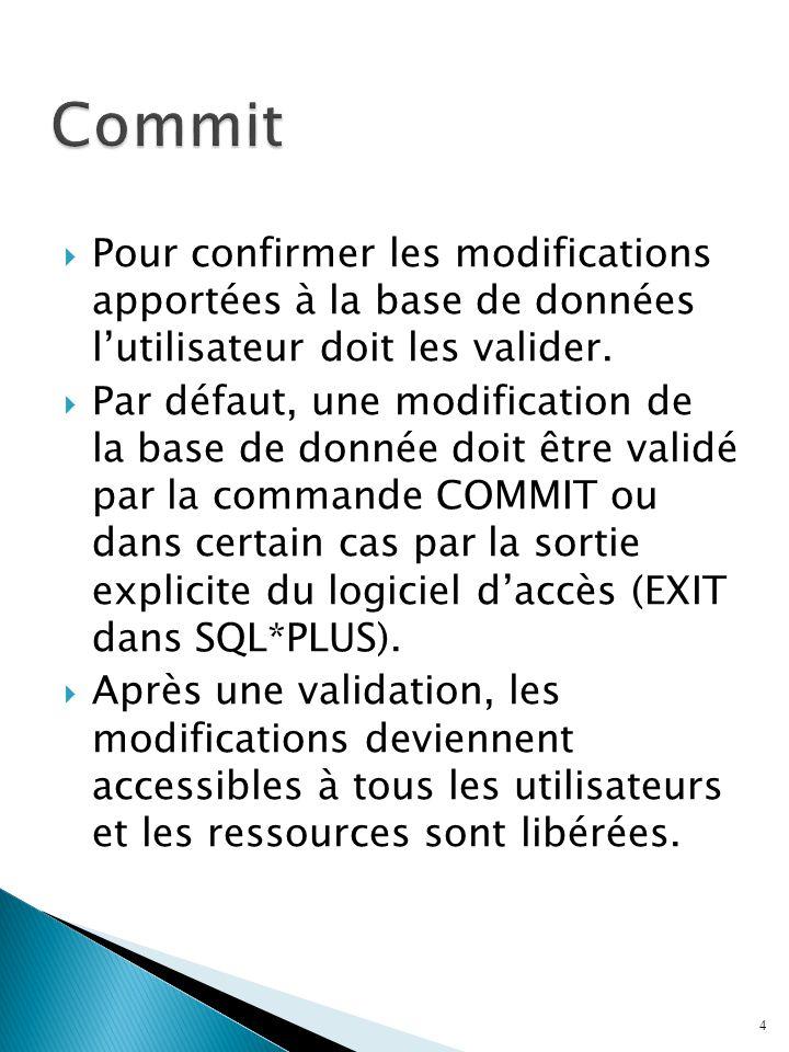 Commit Pour confirmer les modifications apportées à la base de données l'utilisateur doit les valider.