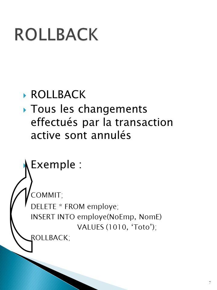ROLLBACK ROLLBACK. Tous les changements effectués par la transaction active sont annulés. Exemple :