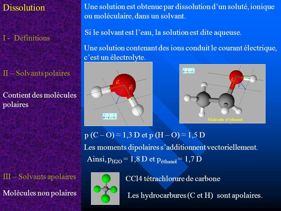 Dissolution Une solution est obtenue par dissolution d'un soluté, ionique ou moléculaire, dans un solvant.