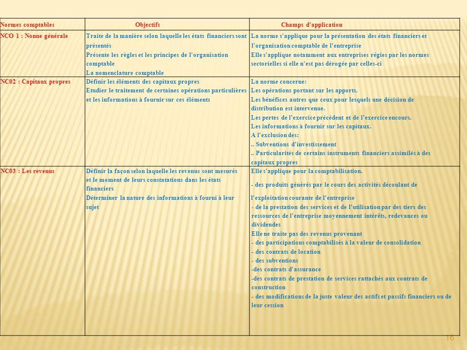 16 Normes comptables Objectifs Champs d application