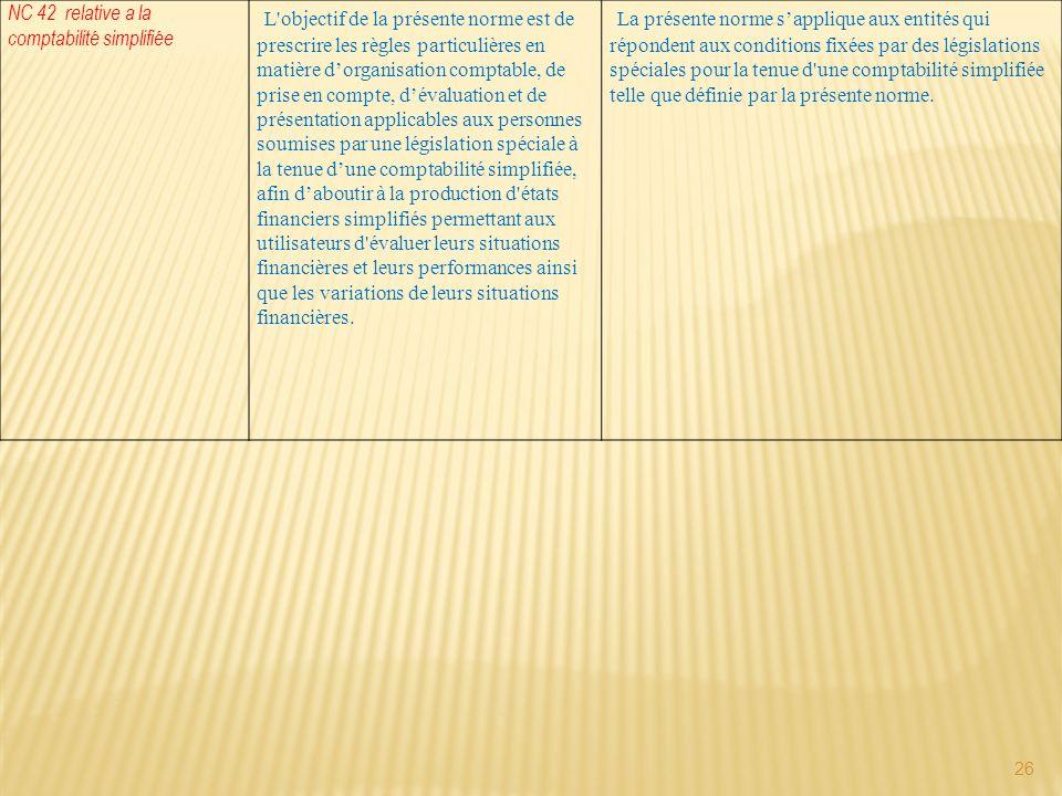 NC 42 relative a la comptabilité simplifiée