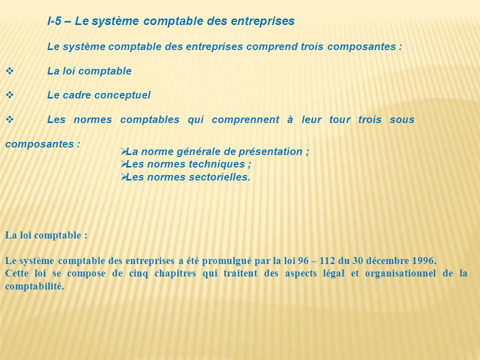 I-5 – Le système comptable des entreprises