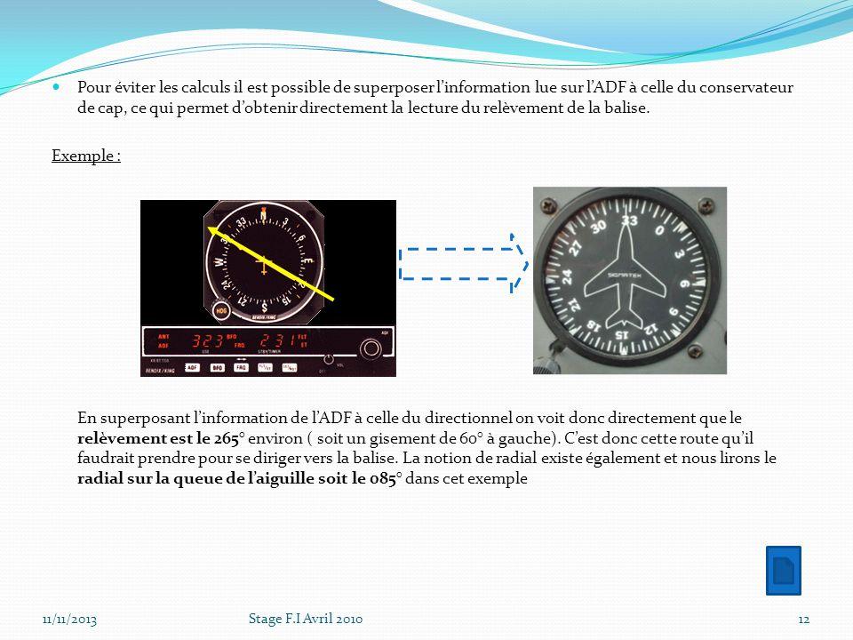 Pour éviter les calculs il est possible de superposer l'information lue sur l'ADF à celle du conservateur de cap, ce qui permet d'obtenir directement la lecture du relèvement de la balise.