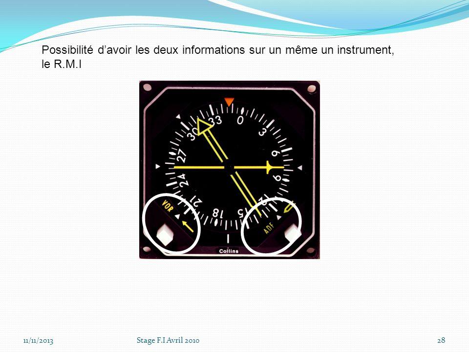 Possibilité d'avoir les deux informations sur un même un instrument, le R.M.I