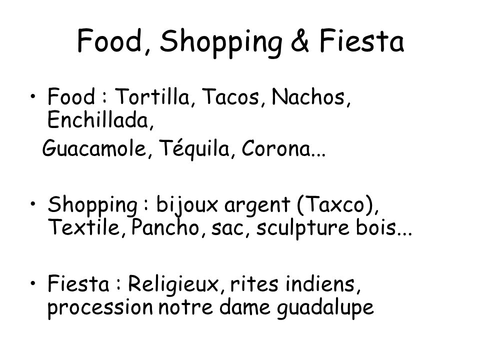 Food, Shopping & Fiesta Food : Tortilla, Tacos, Nachos, Enchillada,