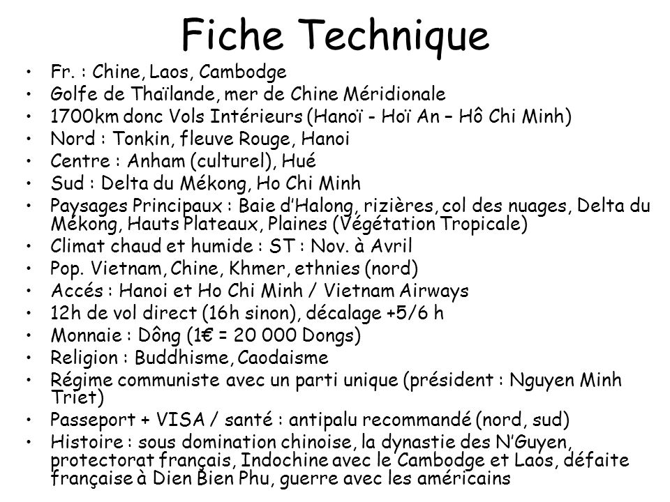 Fiche Technique Fr. : Chine, Laos, Cambodge
