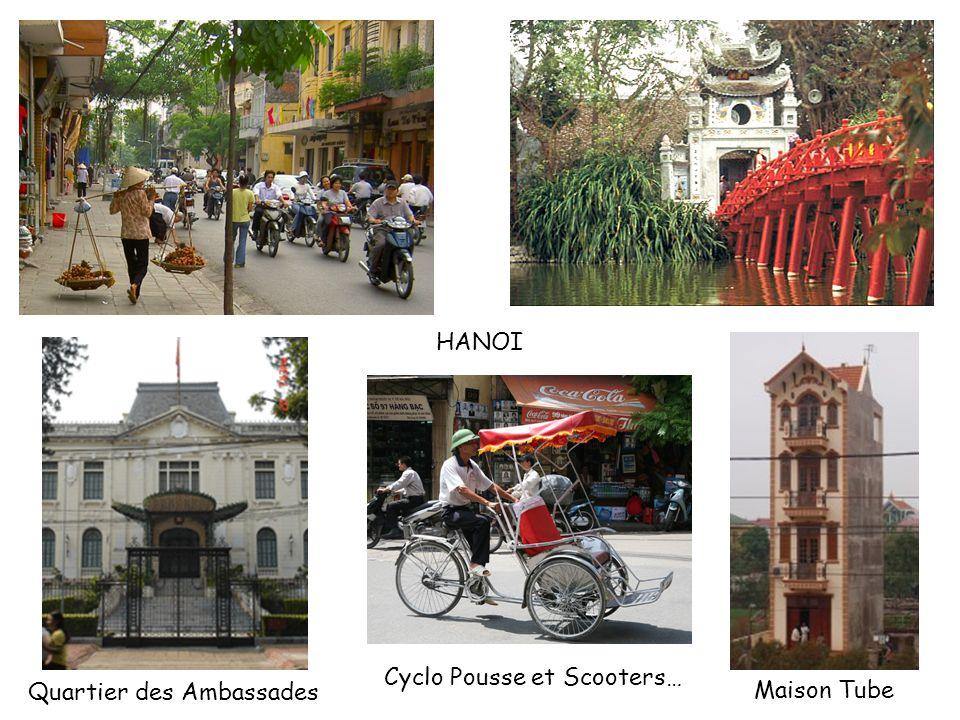 HANOI Cyclo Pousse et Scooters… Quartier des Ambassades Maison Tube