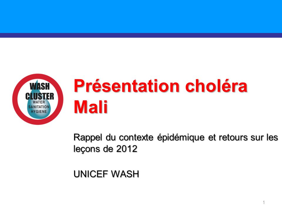 Présentation choléra Mali