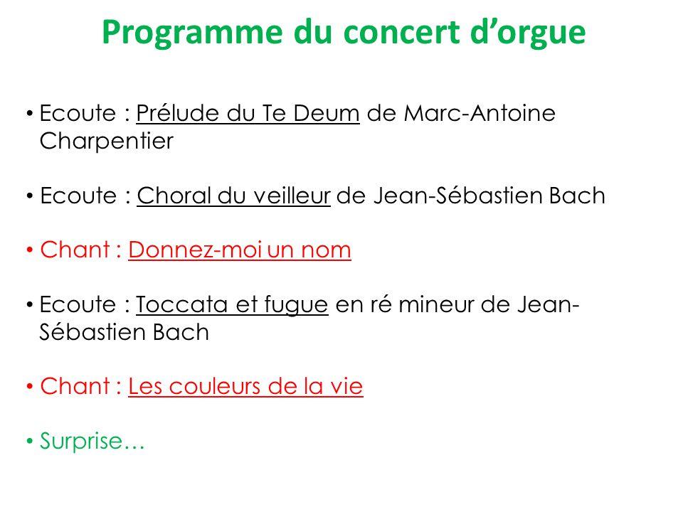 Programme du concert d'orgue