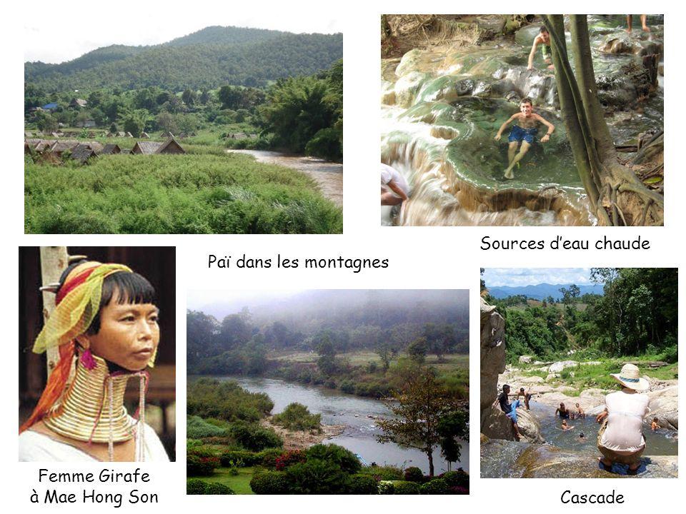 Sources d'eau chaude Paï dans les montagnes Femme Girafe à Mae Hong Son Cascade
