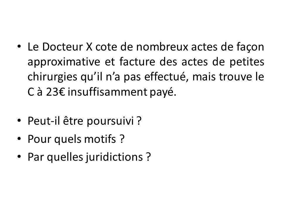 Le Docteur X cote de nombreux actes de façon approximative et facture des actes de petites chirurgies qu'il n'a pas effectué, mais trouve le C à 23€ insuffisamment payé.
