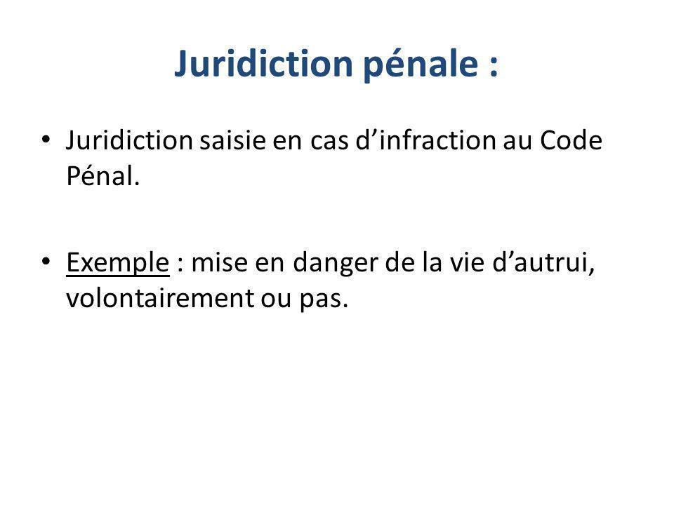 Juridiction pénale : Juridiction saisie en cas d'infraction au Code Pénal.