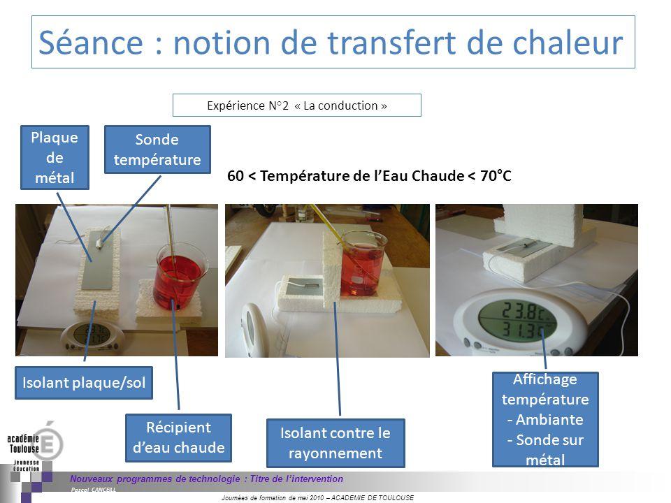 Séance : notion de transfert de chaleur