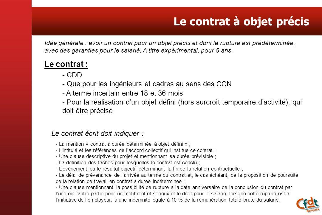 Le contrat à objet précis