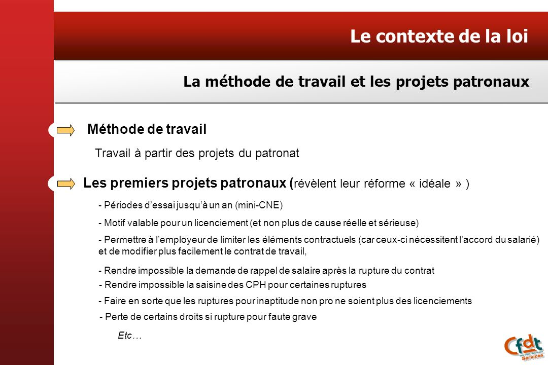 Le contexte de la loi La méthode de travail et les projets patronaux
