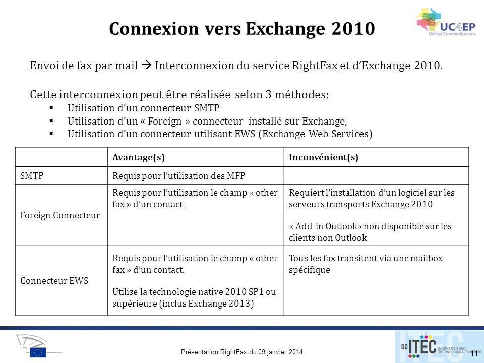Connexion vers Exchange 2010