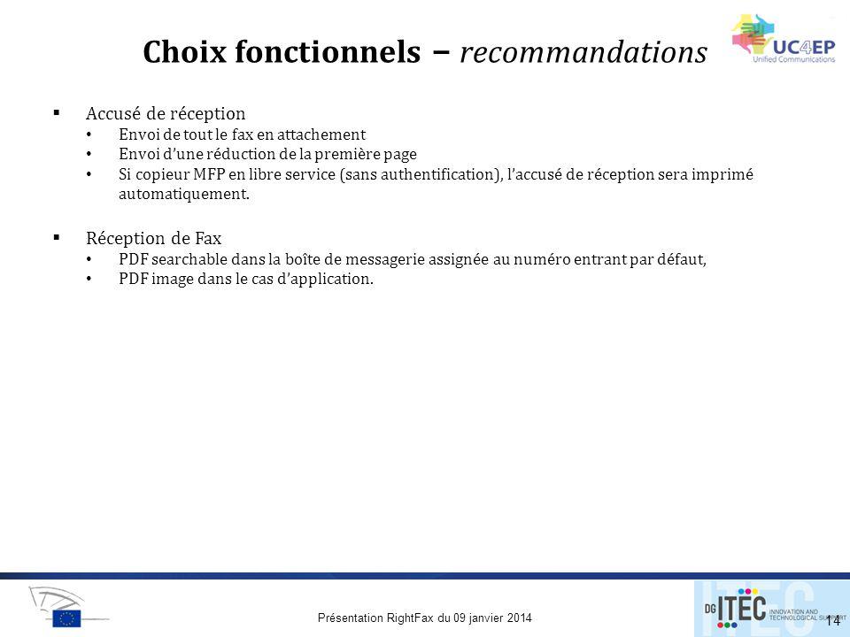 Choix fonctionnels – recommandations