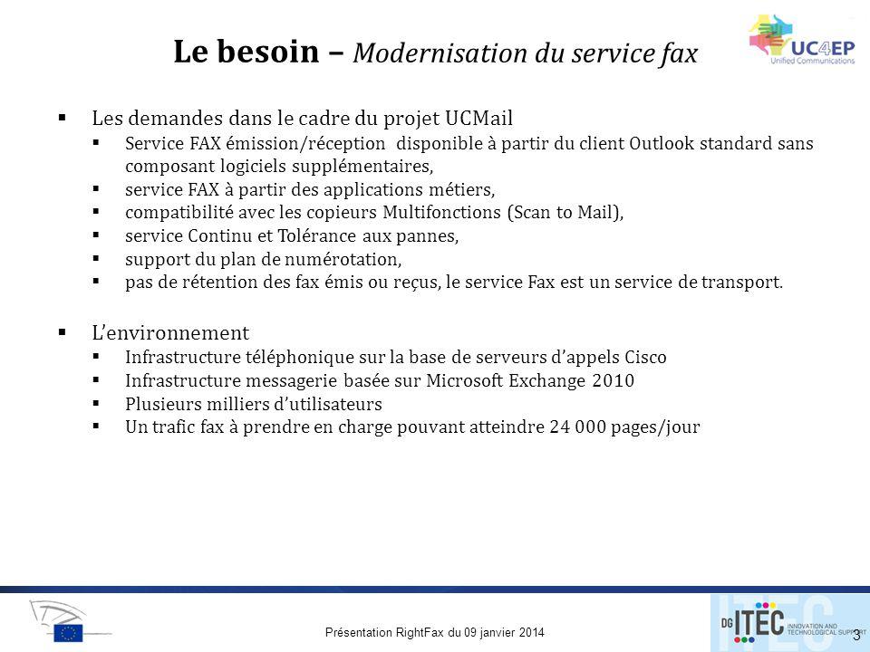 Le besoin – Modernisation du service fax