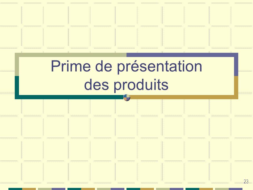 Prime de présentation des produits